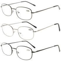 Eyekepper Metal Frame Spring Hinged Arms Reading Glasses 3 Pair Valupac Metal Readers +2.25
