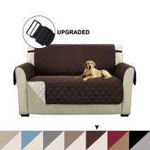 "Sofa Covers Reversible Furniture Protector Couch Covers for Dogs with 2"" Elastic Straps Loveseat Covers Loveseat Slipcover Non Slip Furniture Cover Seat Width Up to 46""(Loveseat - Brown/Beige)"