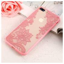 Mixneer Luxury Lace Flower Case for iPhone 8 Plus 8 7 Vintage Floral Case for iPhone 7 Plus 11 7 6S 6 Plus 5S 5 XS Max XR X Bag Compatible with iPhone 11 Pro Max - Pink