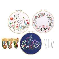 Louise Maelys 3 Pack Embroidery Kit for Beginner Stamped Pattern Cross Stitch Needlepoint Kits Hand Embroidery Starter Kit for Adults
