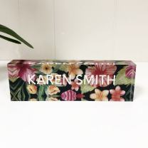"Artblox Office Desk Name Plate Personalized | Custom Name Plates for Desks on Acrylic Glass Decor | Office Desk Decor Nameplate | Desk Accessories | Tropical Flowers - (8""x2.5"")"