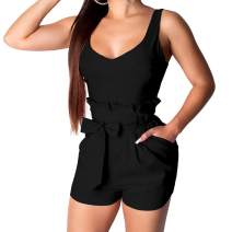 IyMoo Womens Spaghetti Strap Bodycon Tank One Piece Short Jumpsuits Rompers Playsuit with Pockets