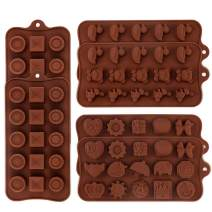 Silicone Chocolate Candy Molds - Set of 6 Nonstick Gummy Candy Molds - 100% Food Grade Silicone Molds for Fat Bombs, Jelly, Ice Cube, Soap