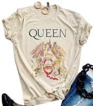 Queen T-Shirt Vintage Freddie Memorial Day Graphic Tees Cute Short Sleeve Tops