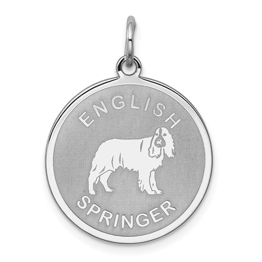 925 Sterling Silver English Springer Disc Pendant Charm Necklace Animal Dog Engravable Round Fine Mothers Day Jewelry For Women Gifts For Her
