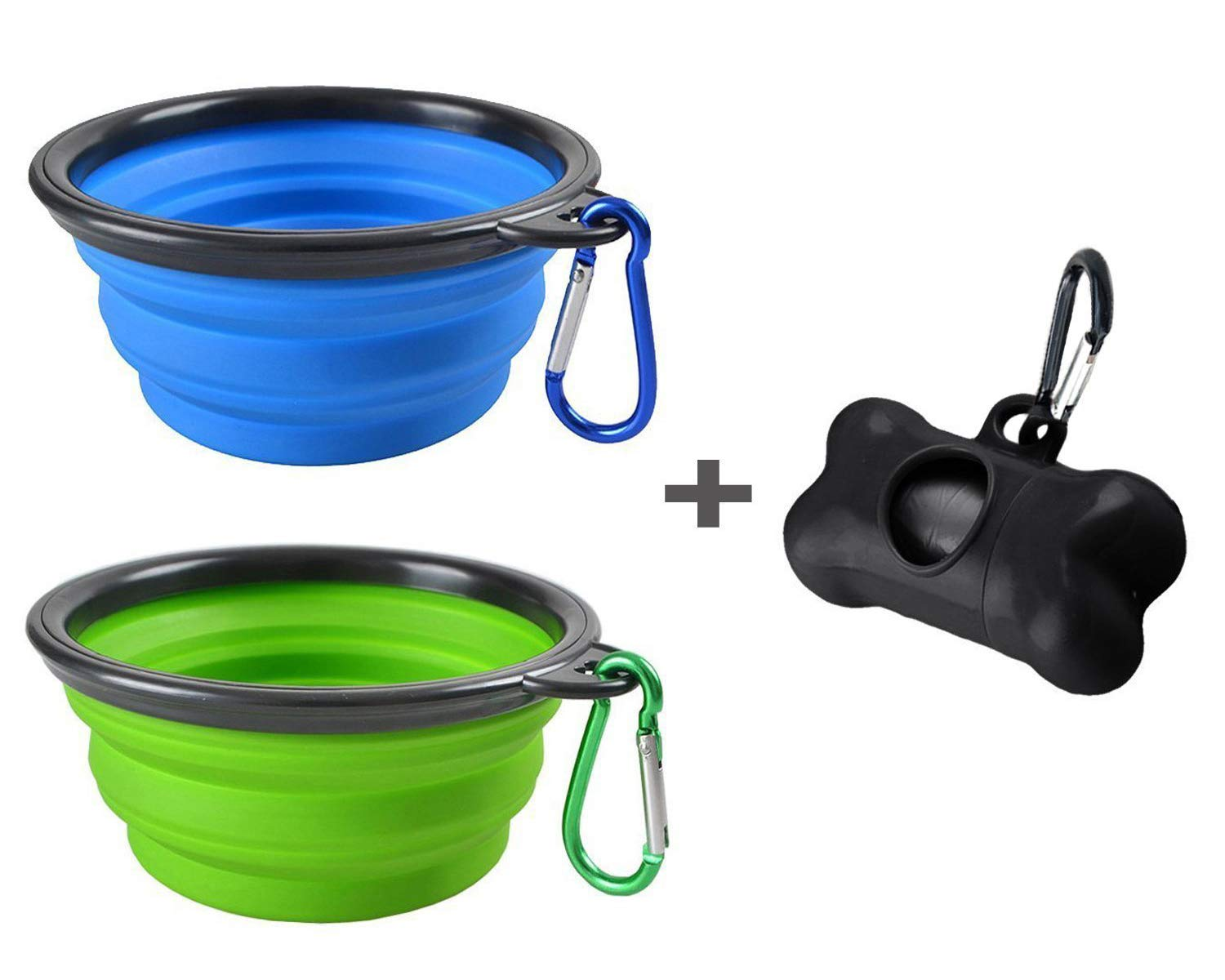 Mebber GOODGROWLIES MOGOCO 2 Pack Portable Collapsible Dog Bowl,Foldable Travel Bowl Dish for Pet Dog Cat Food Water Feeding,Including a Black Poop Bag Holder Dispenser and a Roll of Bags