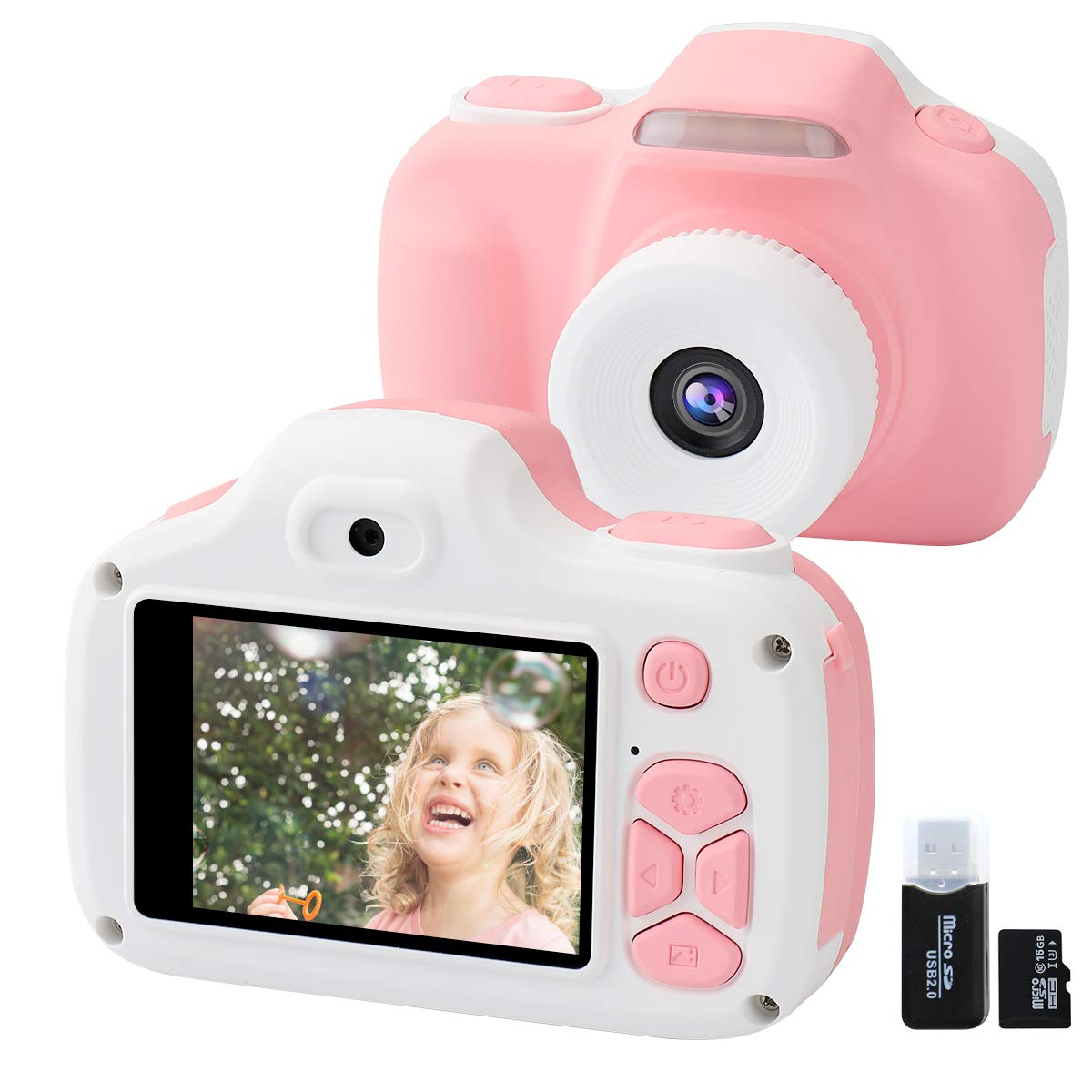 Joytrip Kids Camera for Girls Gifts, 12MP Digital Selfie 1080P HD Video Camcorder for Children 3-12 Years Old Shockproof Mini Learning Toy Cameras with Flash (16GB Memory Card Included) (Pink)