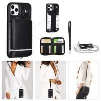 "TOOVREN iPhone 11 Pro Case 5.8 inch, Detachable Wallet Case Card Holder iPhone 11 Pro Case Wallet Handbag with Wrist Strap Crossbody Chain Zipper Wallet Case for iPhone 11 Pro 5.8"" Black"