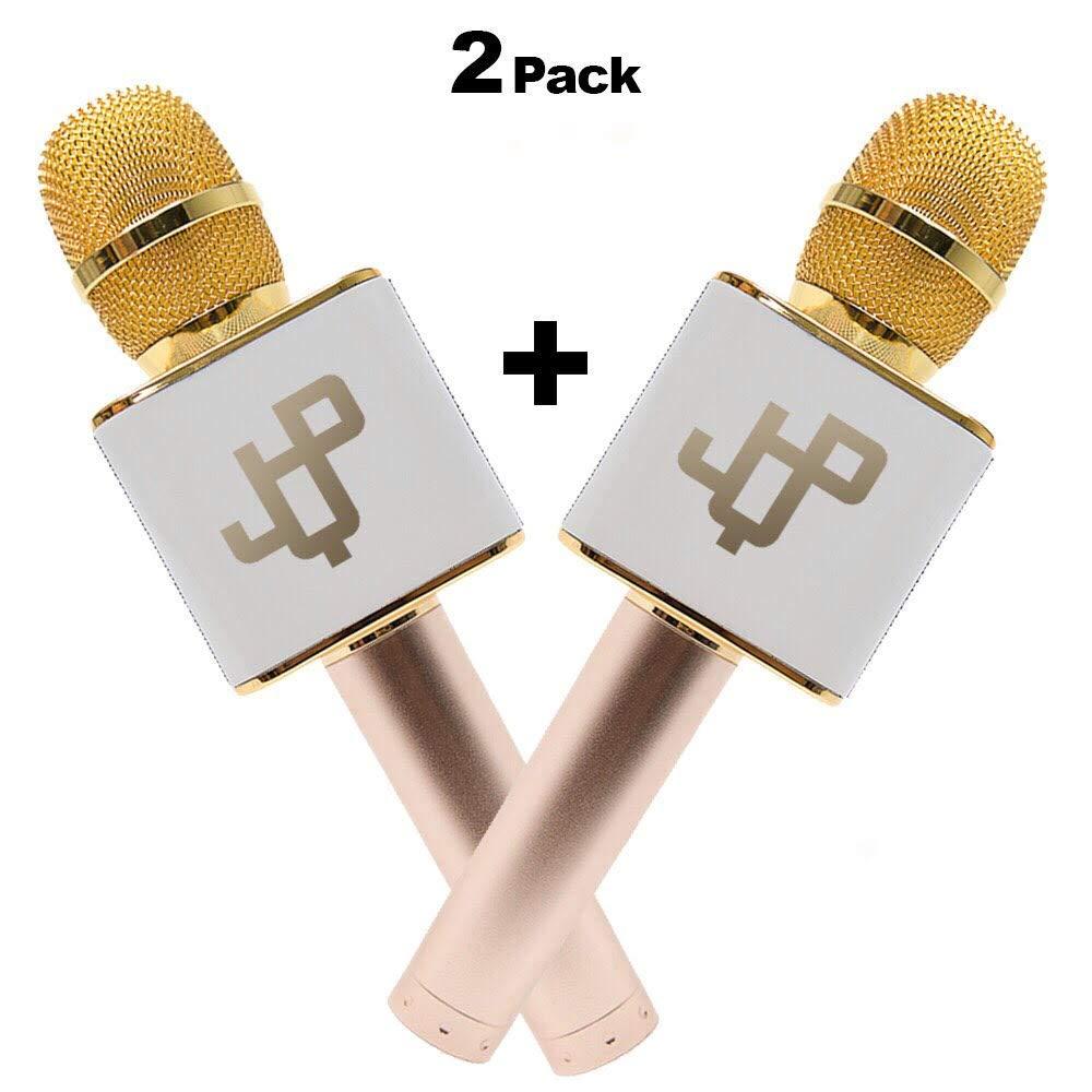 2 Mics in 1 Set Karaoke Microphone Wireless Handheld Mic Bluetooth Speaker for Apple iPhone Android Samsung Smartphone iPad PC Smart TV Home KTV (2 Microphone Set)