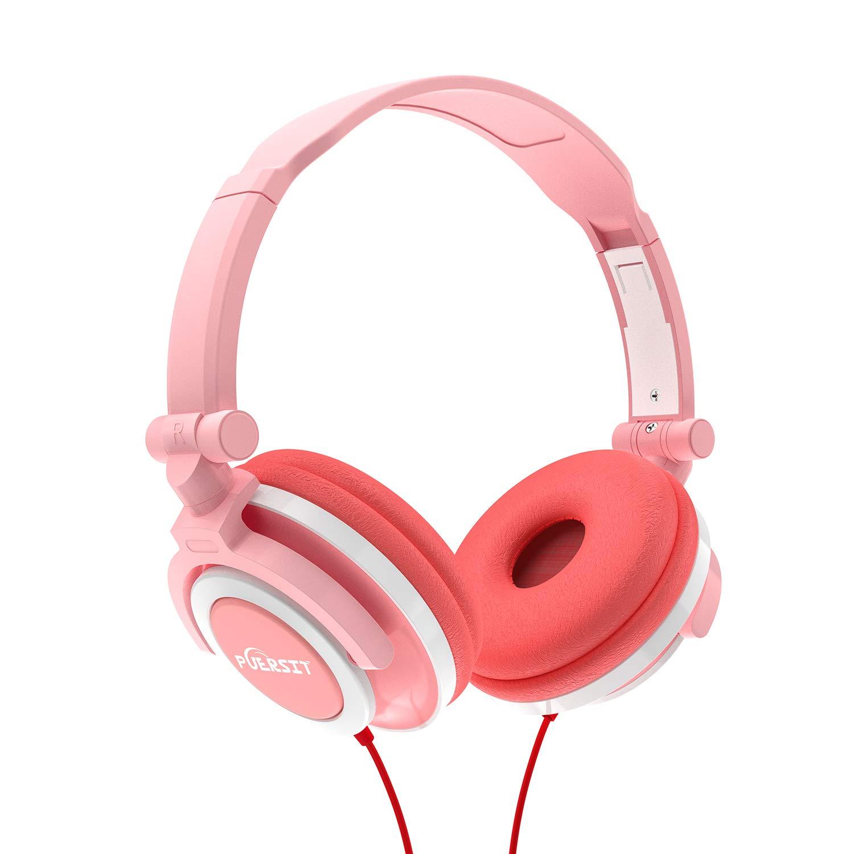 Puersit Kids Headphones Children Stereo Foldable Adjustable On Ear Headsets 3.5mm Jack iPad Cellphones Computer MP3/4 Tablet Kindle (Pink)