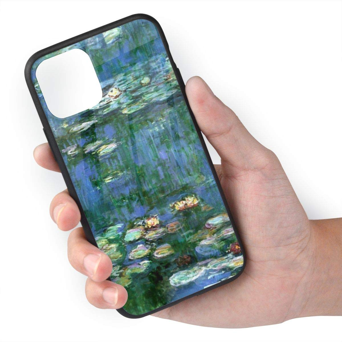 TMVFPYR Lilies Claude Monet Water Lilies Case for iPhone 11 Pro, TPU Soft-Edge Scratch-Resistant Protective Hard Case with Bullet-Proof Glass