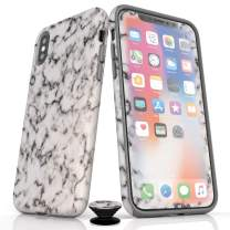 Phone Accessory Bundle for iPhone X/XS - Screen Protector, Matte iPhone Case, and Cell Phone Grip with Black White Marble Design