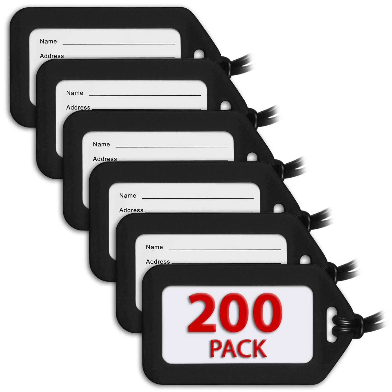 MIFFLIN Luggage Tags (Black, 200 PK), Bag Tag for Baggage, Suitcase Tags Bulk