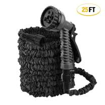 ActionEliters Expandable Garden Hose with 7 Function Hose Nozzles with Triple Latex Core Extra Strength Lightweght Fabric Flexible Expanding Water Hose (25ft Black)