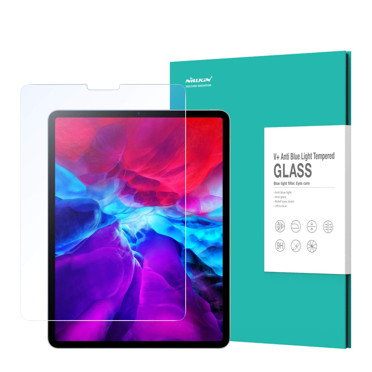 Nillkin Screen Protector for iPad Pro 12.9 inch 2020 and 2018 Model, Tempered Glass Anti Blue Light [Eye Protection], Super Guard, Anti-Scratch