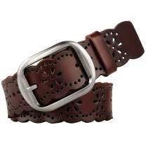 JASGOOD Women's Hollow Flower Leather Belt for Jeans Pants Wide Belt for Ladies