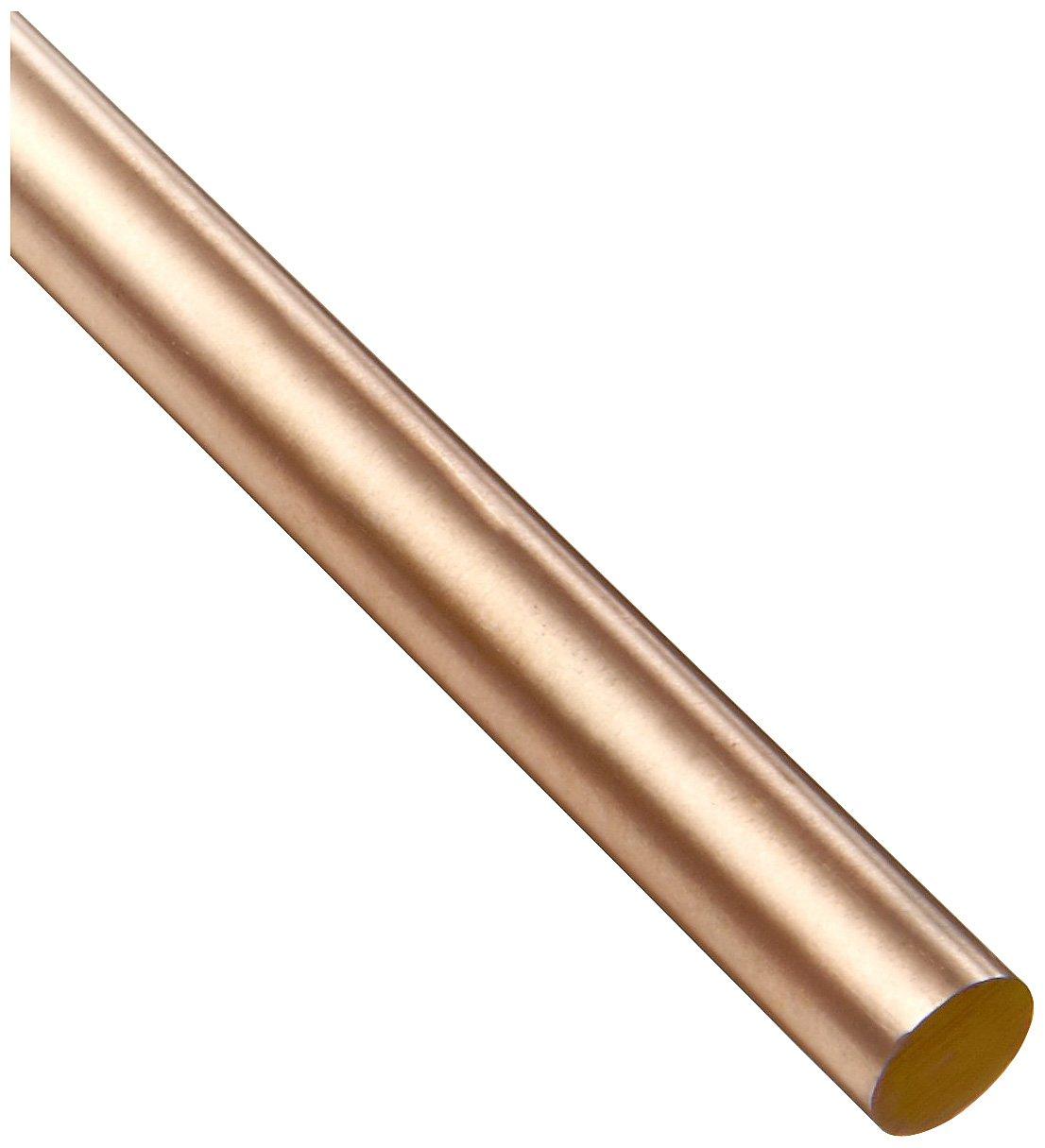 36 Length 145 Copper Round Rod Mill Finish ASTM B301 Unpolished H02 Temper 0.25 Diameter