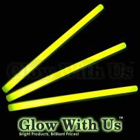 "Glow Sticks Bulk Wholesale, 10 12"" 15mm Dia. Yellow Industrial Grade Jumbo Light Sticks, Bright Color, Glow 14 Hrs, Safety Glow Stick 3yrs Shelf Life, Ideal for Camping & Emergency, GlowWithUs Brand"