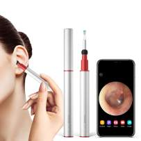 BEBIRD Ear Wax Removal Wireless Otoscope Ear Camera FHD 1080P with 4-Axis Gyroscope, 3.5mm Ultra-Slim Waterproof LED Digital Endoscope with Temperature Control for iOS/Android Phone Tablet (Silver)