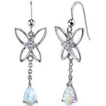 Created Opal Dangle Earrings Sterling Silver Pear Shape 1.50 Carats