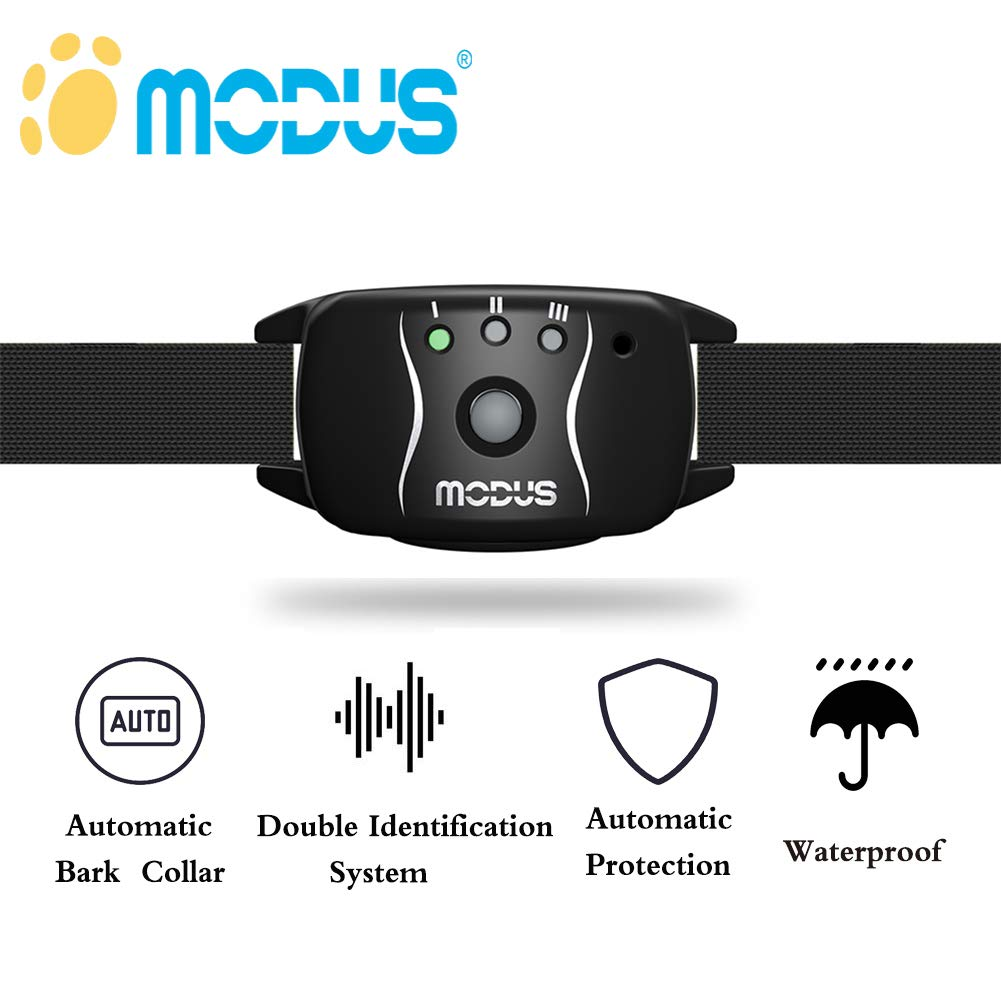MODUS Anti Bark Collar, Dog Barking Control Training Waterproof Collar for Medium/Small Dogs - No Bark Collar with Dual Identification System, Automatic Real-time Correction and Action Without Remote