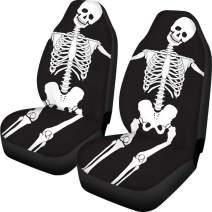 FOR U DESIGNS Car Seat Covers Skeleton Skull Black Cool Design for Men Front Seat Protector Coverage Bag 2 PCS Set Universal Size Fits for Cars, Trucks & SUVs
