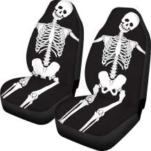 FOR U DESIGNS Car Seat Covers Skeleton Skull Black Cool Design for Men Front Seat Protector Coverage Bag 2 PCS Set Universal Size Fits for Cars, Trucks & SUVs