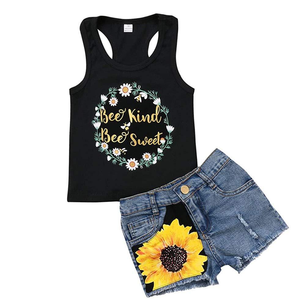 Honganda Fashion 2Pcs Toddler Kids Baby Girl Sunflower Outfits Sleeveless Tank Top+Denim Shorts Summer Clothes …