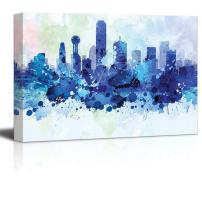 wall26 - Vibrant Blue Splattered Paint on The City of Dallas, Texas - Canvas Art Home Decor - 24x36 inches