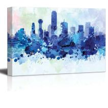 wall26 - Vibrant Blue Splattered Paint on The City of Dallas, Texas - Canvas Art Home Decor - 32x48 inches