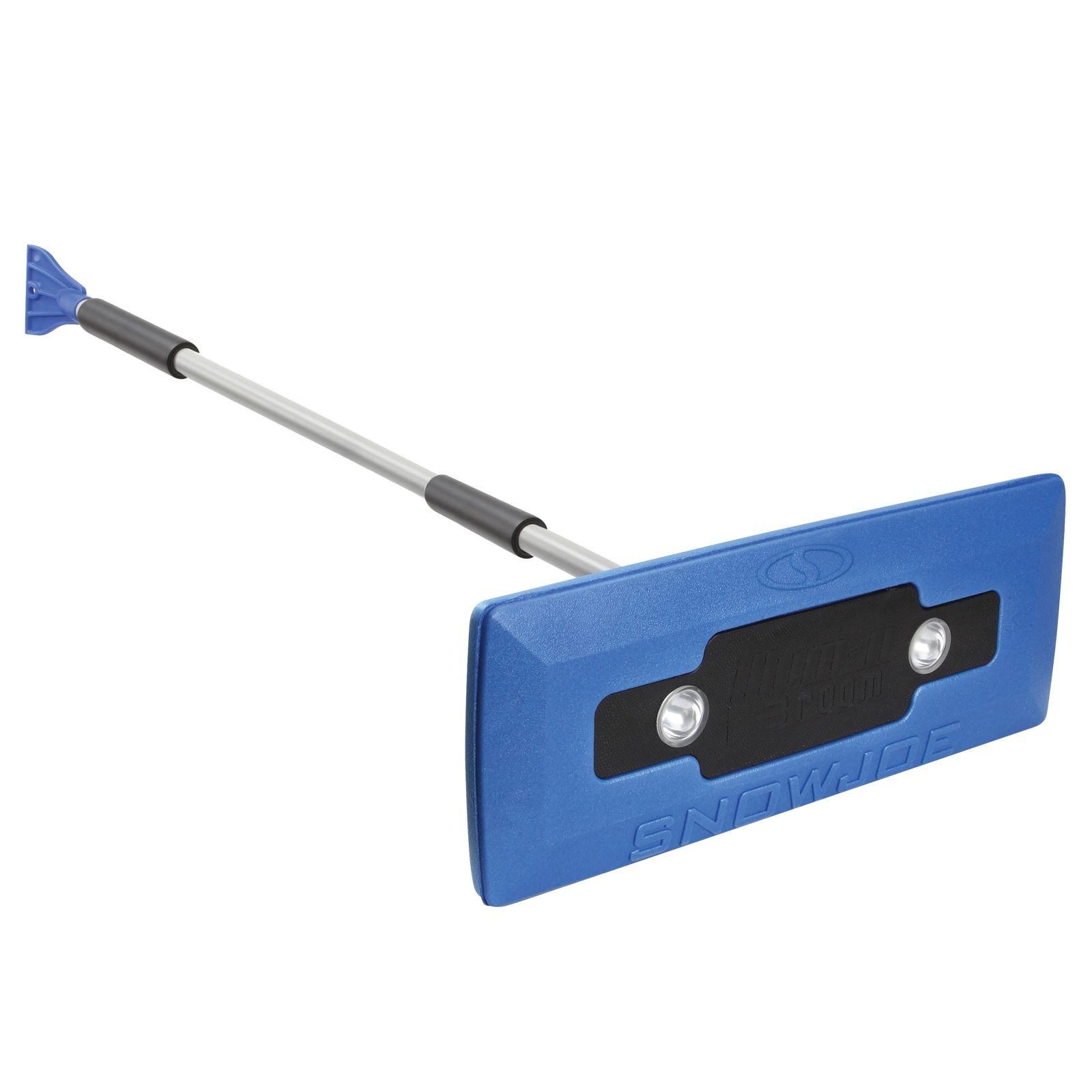 Snow Joe SJBLZD-LED 4-In-1 Telescoping Snow Broom + Ice Scraper   18-Inch Foam Head   Headlights (Blue)