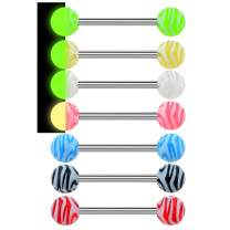 Jewseen 7Pcs 14G 316L Stainless Steel Tongue Bars Candy Color Tongue Piercings Glow in The Dark Tongue Barbell