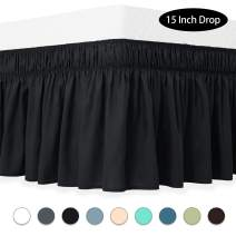 Guken Wrap Around Bed Skirt 15 Inch Drop, Elastic Dust Ruffle, Easy On and Easy Off, Easy Fit Wrinkle and Fade Resistant Luxurious Silky Fabric Solid (Black,Twin)