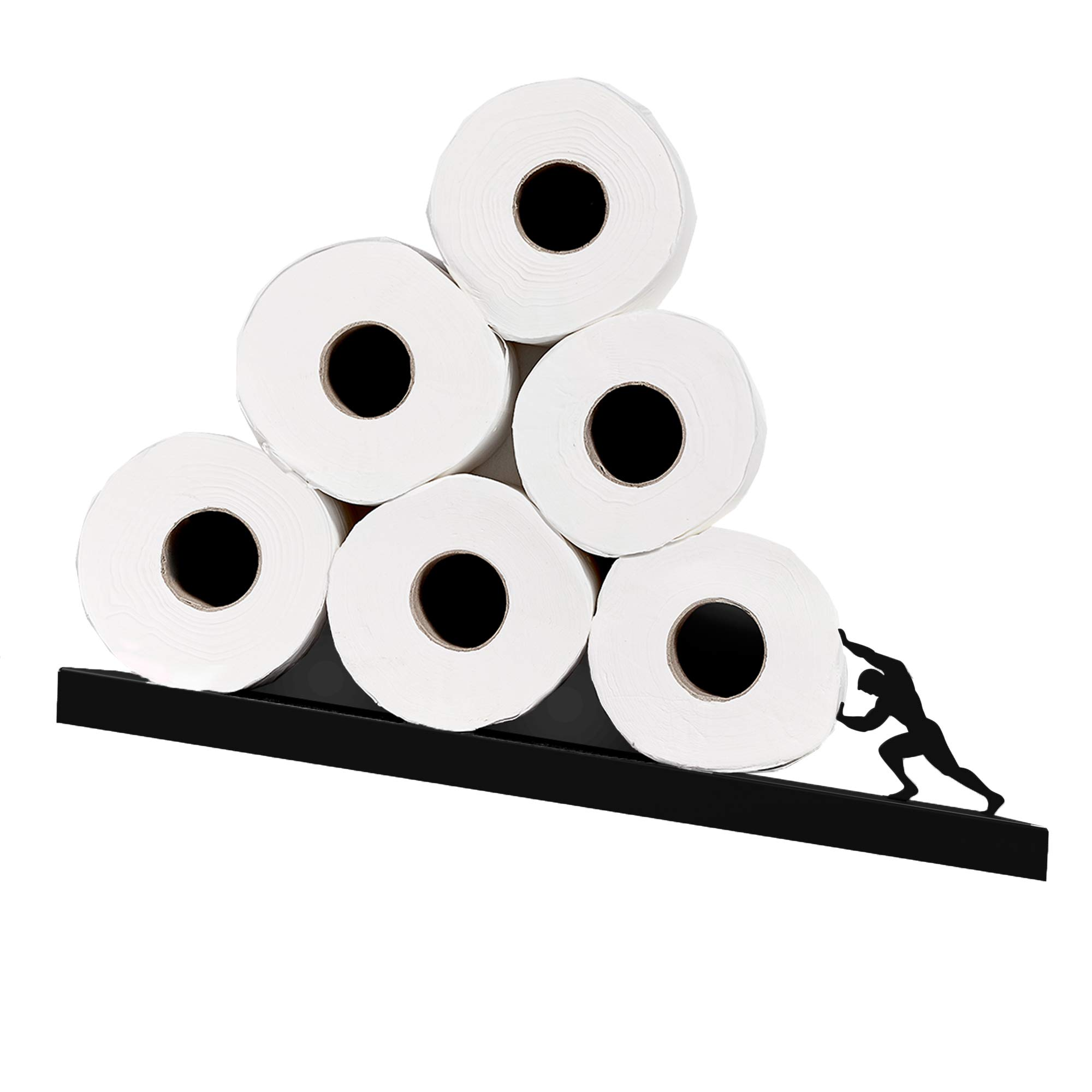 Toilet Paper Holder - Sisyphus Shelf for Toilet Paper Rolls - Bath Decor - Tilted Toilet Paper Rack - Bathroom Accessories - Black Toilet Paper Storage - Unique Tissue Paper Rolls Storage