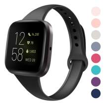 DYKEISS Sport Slim Silicone Band Compatible with Fitbit Versa/Versa Lite Edition, Thin Soft Narrow Silicone Replacement Strap Wristband Accessory for Fitbit Versa Smart Watch (Small, Black)