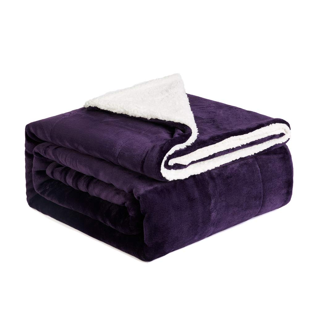 NEWSHONE Sherpa Throw Blanket Flannel Fleece Throw Blanket for Sofa Couch Warm Cozy Microfiber Reversible Plush Soft Warm Fuzzy Throw(50x 60 inches, Purple)