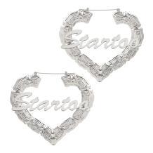 Custom Name Earrings Personalized Bamboo Hoops Plated Hoops Earrings Hip-hop Custom Earrings for Women Girls Fashion Jewelry Gift
