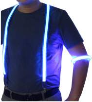LED Suspenders with LED Armbands Set Neon Glow for Costume Men&Women Night Running/Concerts/Rave Party