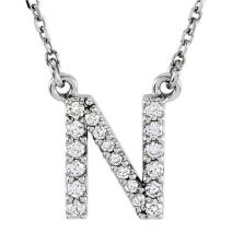 Dazzlingrock Collection 0.12 Carat (ctw) 14K Diamond Uppercase Letter 'A' to 'Z' Initial Pendant (Gold Chain Included), White Gold