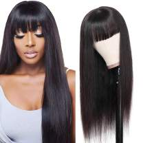 ZZY Straight Wigs with Bangs Brazilian Virgin Human Hair Wigs None Lace Front Wigs 130% Density Glueless Machine Made Wigs For Black Women Natural Black (16 Inch)