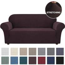 Turquoize Stretch Oversized Sofa Slipcover 1-Piece Sofa Cover Washable Furniture Protector for Dogs Spandex Non Slip Soft Couch Cover 4 Cushion Sofa Protector with Elastic Bottom(XL Sofa, Brown)