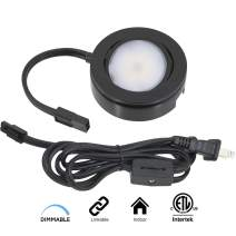 American Lighting MVP-1-BK Single Puck Kit w/Roll Switch 6 Foot Power Cord, 6-Inch Lead/Tail Wire and Hardware, Dimmable Swivel LED, Linkable, cETLus Listed, 2-3/4-Inch, 2700K, Black MVP Collection