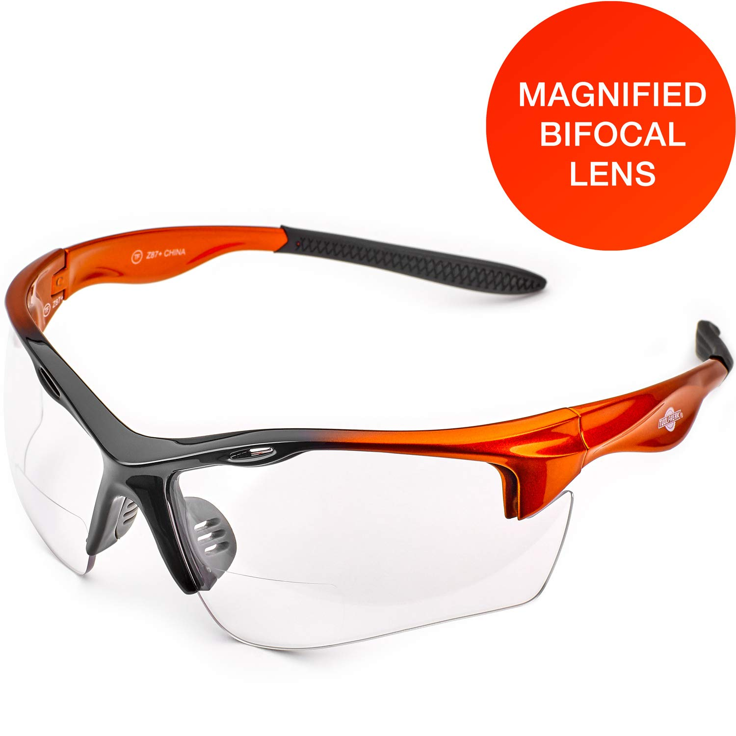 ToolFreak Rebel Magnified Bifocal Reading Safety Glasses for Work and Sport, Wraparound Lenses with Impact and U6 UV Protection Rated to ANSI z87+, Case, Neck Cord, Pouch (+2.0 Diopter Clear Lens)