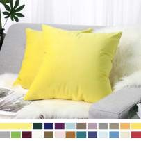 """Lewondr Velvet Soft Throw Pillow Cover, 2 Pack Modern Solid Color Square Decorative Throw Pillow Case Cushion Covers for Car Sofa Bed Couch Home Decor, 18""""x18""""(45x45cm), Lemon Yellow"""