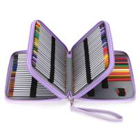BTSKY Deluxe PU Leather Pencil Case For Colored Pencils - 120 Slot Pencil Holder with Handle Strap Handy Colored Pencil Box Large (Purple)