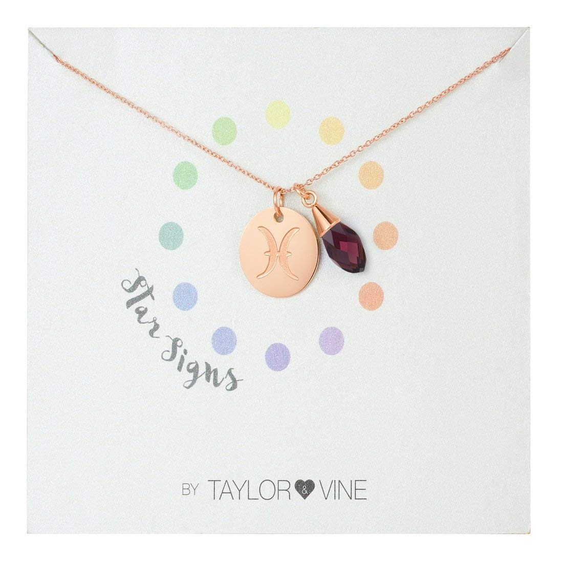"""Star Signs Pisces Necklace Pendant with CZ Gem Birth Stone, 16"""" by Taylor and Vine"""