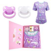 TEN@NIGHT Adult Baby Onesie Bodysuit ABDL Diaper Lover with 2 Adult Pacifier