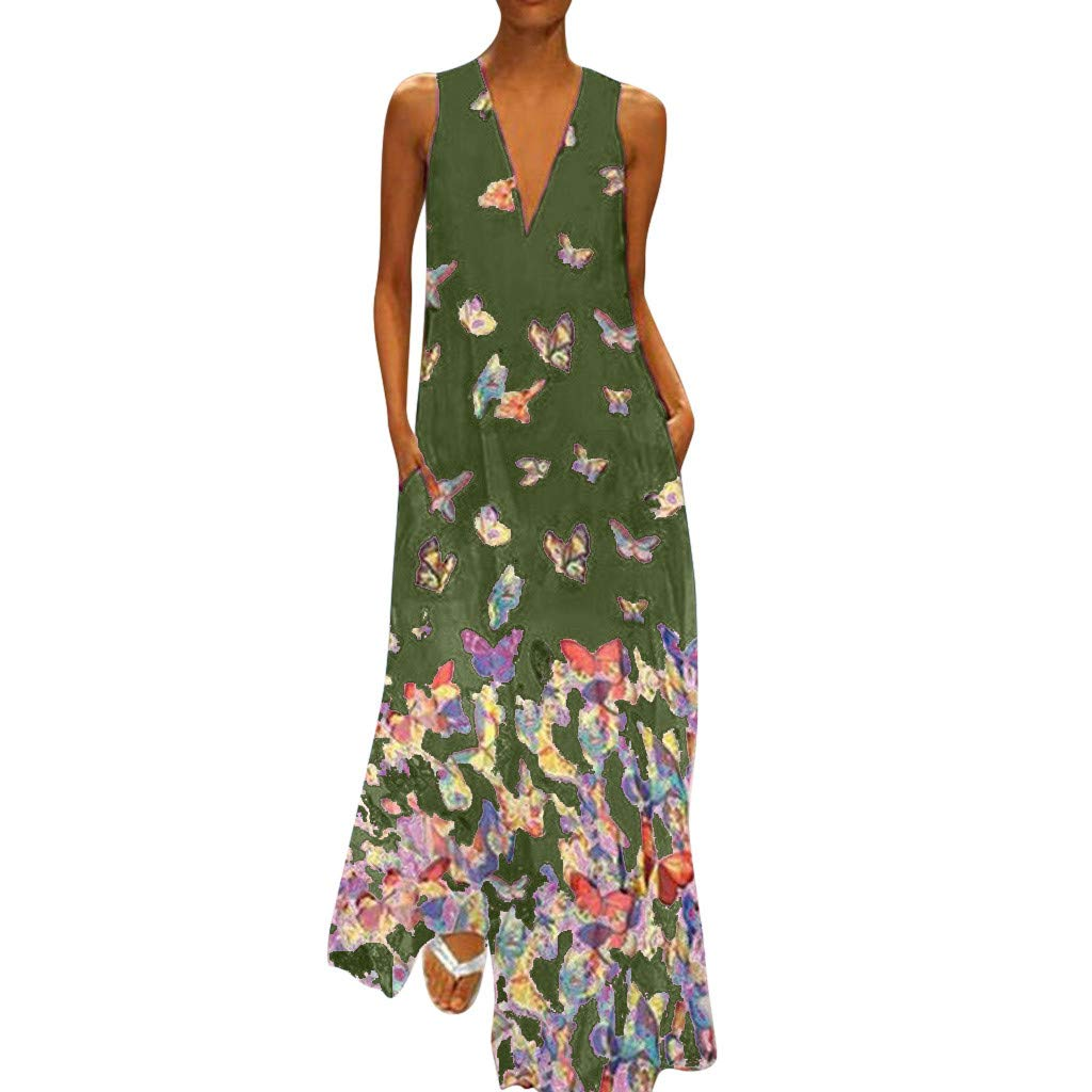 Women Loose Dress Casual Summer Butterfly Sunflower Folk Print V-Neck Ethnic Bohemian Oversize Caftan Long Maxi Dress