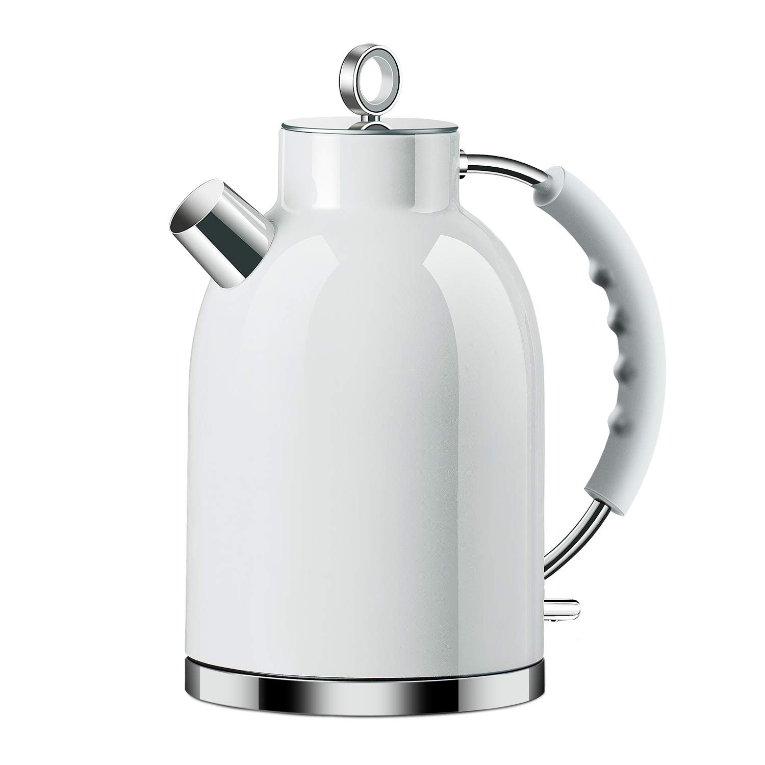 Electric Kettle, ASCOT Stainless Steel Electric Tea Kettle, 1.7QT, 1500W, BPA-Free, Cordless, Automatic Shutoff, Fast Boiling Water Heater - White