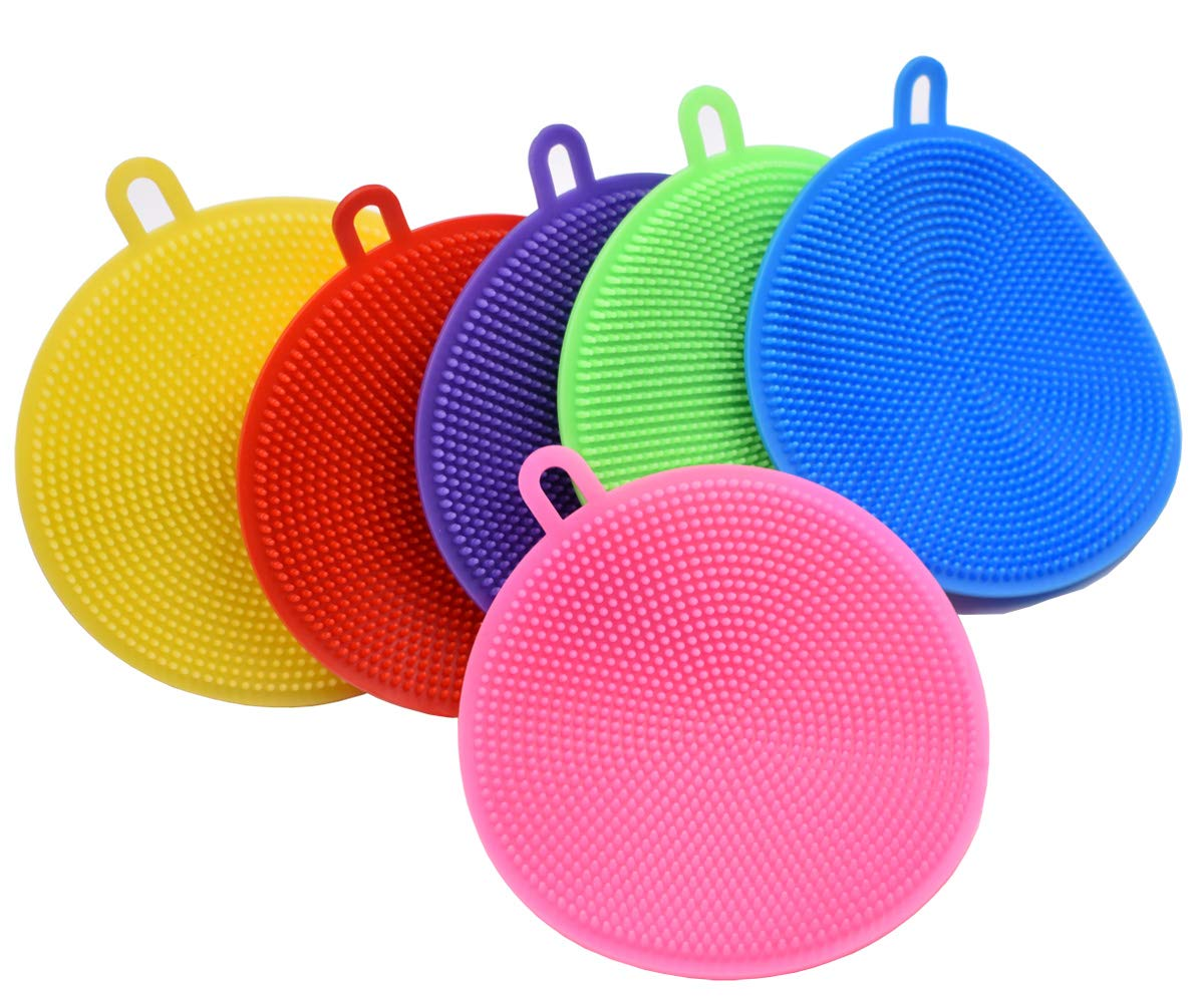 Viewm Silicone Sponge Scrubber for Dishes Fruit Vegetable Scrubber Silicone Sponges for Kitchen Cleaning Supplies Gadgets Brush Accessories,6 Colors Pack